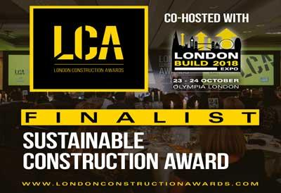 We are a finalist in the sustainable construction category for the London Construction Awards.